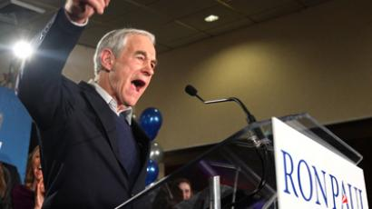 Republican presidential candidate U.S. Congressman Ron Paul addresses his New Hampshire primary night rally in Manchester, New Hampshire (Reuters/Shannon Stapleton)
