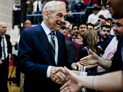 Republican Presidential hopeful Rep. Ron Paul (R-TX) greets supporters during a town hall meeting at the University of Maryland on March 28, 2012 in College Park, Maryland (T.J. Kirkpatrick/Getty Images/AFP)