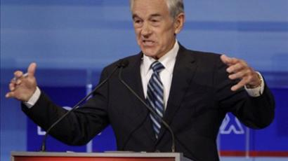 Republican presidential candidate Rep. Ron Paul, R-Texas speaks during the Iowa GOP/Fox News Debate at the CY Stephens Auditorium in Ames, Iowa, Thursday, Aug. 11, 2011 (AFP Photo / Pool / Charlie Neibergall)