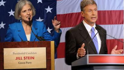 Green Party presidential candidate Jill Stein and Libertarian Party presidential candidate Gary Johnson.(AFP Photo / Scott Olson)