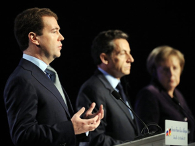 Under terrorist cloud, Medvedev, Merkel and Sarkozy meet for security summit