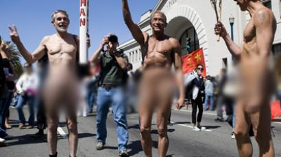Supporters of human rights stage a naked torch run in San Francisco on April 9, 2008. (Max Whittaker/Getty Images/AFP)