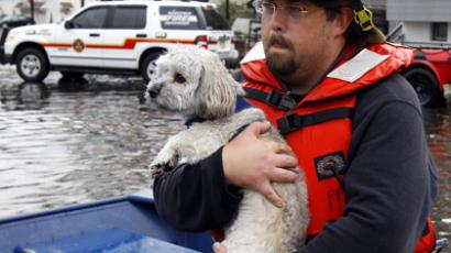 An fireman carries a residents dog to safety from flood waters brought on by Hurricane Sandy in Little Ferry, New Jersey, October 30, 2012. (Reuters/Adam Hunger)