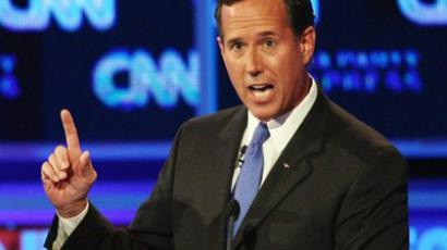 Republican presidential candidate Rick Santorum speaks during a presidential debate sponsored by CNN and The Tea Party Express at the Florida State fairgrounds on September 12, 2011 in Tampa, Florida (Win McNamee / Getty Images / AFP)