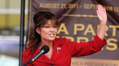Former Alaska governor Sarah Palin speaks at a Tea Party Express rally on September 5, 2011 at Veteran's Memorial Park in Manchester, New Hampshire (AFP Photo / Darren McCollester)