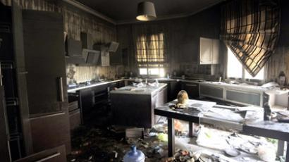 A picture shows damage inside the burnt US consulate building in Benghazi on September 13, 2012, following an attack on the building late on September 11 in which the US ambassador to Libya and three other US nationals were killed.  (AFP Photo/Gianluigi Guercia)