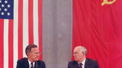 US President George Bush (L) and Soviet counterpart Mikhail Gorbachev confer during their joint press conference 31 July 1991 in Moscow (AFP Photo / Mike Fisher)