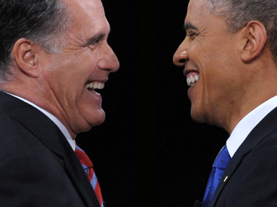 US President Barack Obama (R) greets Republican presidential candidate Mitt Romney (L) following the third and final presidential debate at Lynn University in Boca Raton, Florida.(AFP Photo / Saul Loeb)