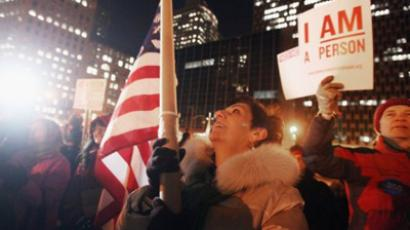 Protesters affiliated with Occupy Wall Street demonstrate during an Occupy the Courts protest outside Thurgood Marshall U.S. Courthouse on January 20, 2012 in New York City (Mario Tama / Getty Images / AFP)