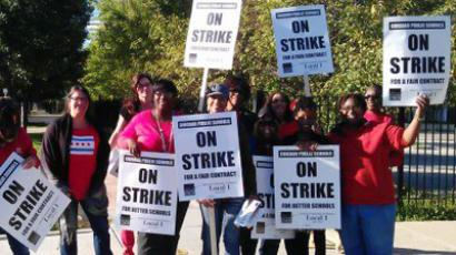 Teachers on strike in Chicago. The image is from Chicago Teachers Union Facebook page.