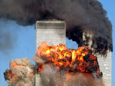 Hijacked United Airlines Flight 175 from Boston crashes into the south tower of the World Trade Center and explodes at 9:03 a.m. on September 11, 2001 in New York City (Spencer Platt / Getty Images / AFP Photo)