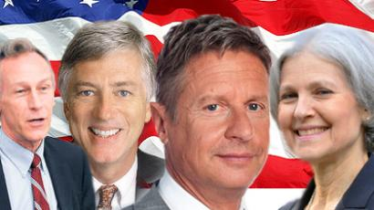 Libertarian Party's Gary Johnson, Green Party's Jill Stein, Constitution Party candidate Virgil Goode, and Justice Party candidate Rocky Anders