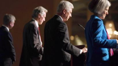 Presidential candidates (R - L) Jill Stein of the Green Party, Rocky Anderson of the Justice Party, Virgil Goode of the Constitution Party and Gary Johnson of the Libertarian Party participate in a debate on October 23, 2012 in Chicago, Illinois. (Scott Olson/Getty Images/AFP)