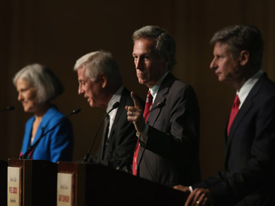 Constitution Party presidential candidate Virgil Goode (2nd R) makes a point as Jill Stein (L) from the Green Party, Rocky Anderson (2nd L) from the Justice Party and Gary Johnson (R) from the Libertarian Party look on during a debate hosted by the Free and Equal Elections Foundation and moderated by former CNN talk-show host Larry King on October 23, 2012 in Chicago, Illinois. (Scott Olson/Getty Images/AFP)