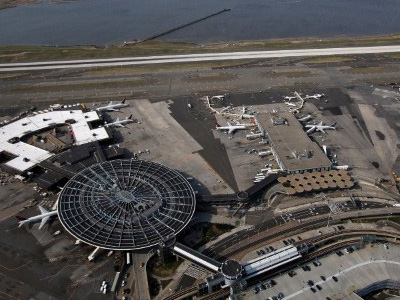 New York: An aerial view of John F. Kennedy Airport (JFK) in the Jamaica neighborhood of the Queens borough of New York City. (Spencer Platt/Getty Images/AFP)