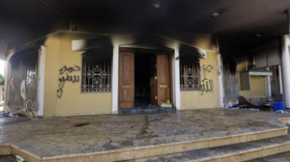 A picture shows a burnt building at the US consulate compound in the eastern Libyan city of Benghazi on September 13, 2012 following an attack late on September 11 in which the US ambassador to Libya and three other US nationals were killed. Libya said it has made arrests and opened a probe into the attack, amid speculation that Al-Qaeda rather than a frenzied mob was to blame. (AFP Photo/Gianlugi Guercia)