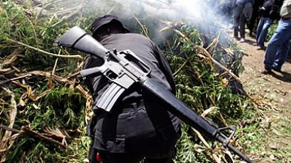 Marijuana plants are burned during an anti-drug operation in Guatemala (AFP Photo / Getty Images)