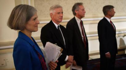 Presidential candidates (L - R) Jill Stein of the Green Party, Rocky Anderson of the Justice Party, Virgil Goode of the Constitution Party and Gary Johnson of the Libertarian Party wait to be introduced at a debate.(AFP Photo / Scott Olson)