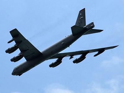 A US Air Force B-52 bomber. (AFP Photo / Roslan Rahman)