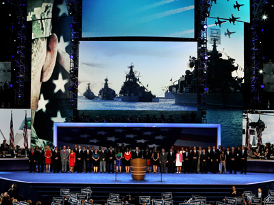 United States Navy Admiral John B. Nathman (retired) speaks on stage with military veterans during the final day of the Democratic National Convention at Time Warner Cable Arena on September 6, 2012 in Charlotte, North Carolina. (Alex Wong/Getty Images/AFP)
