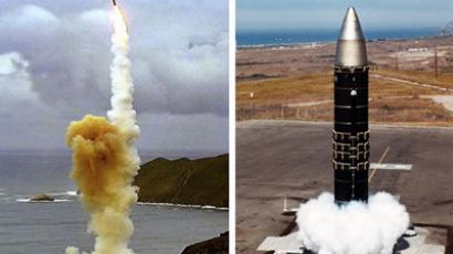 This 28 March, 2004 composite image shows the LGM-30G Minuteman intercontinental ballistic missile (ICBM) (L) and the LG-118A Peacekeeper missile(R). (AFP Photo/US DOD)