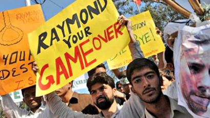 Pakistan, Karachi : Activists of Pakistani Islamist organisation the Tehreek-e-Insaf shout slogans during a protest against US consulate worker Raymond Davis in Karachi on February 20, 2011. (AFP Photo / Rizwan Tabassum)