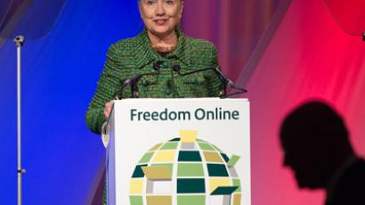 U.S. Secretary of State Clinton speaks during the Freedom internet conference in the Hague (REUTERS/Michael Kooren)