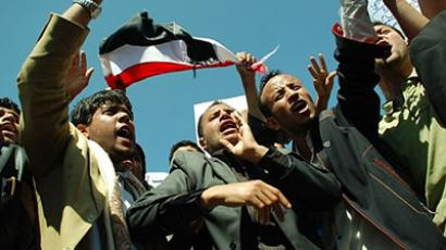 Sanaa: Yemeni anti-government protesters shout slogans against President Ali Abdullah Saleh during a demonstration in the capital Sanaa on February 14, 2011. (AFP Photo / Mohammed Huwais)