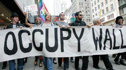 Occupy Wall Street protestors march down Fifth Avenue towards Union Square (Monika Graff/Getty Images/AFP)