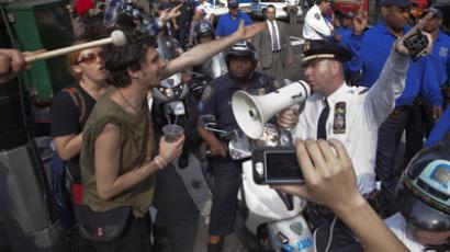 Occupy Wall Street movement supporters are halted by police from crossing the street during a march through Manhattan in New York March 23, 2012. (Reuters / Adrees Latif)