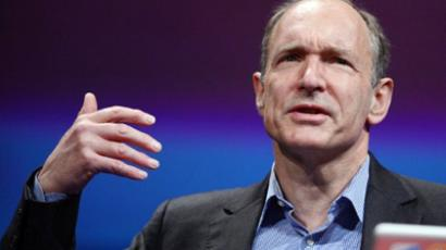 British computer scientist Tim Berners-Lee, the man credited with inventing the world wide web, gives a speech on April 18, 2012 in Lyon, central France (AFP Photo/Philippe Desmazes)