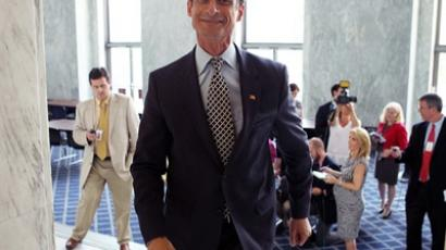 U.S. Rep. Anthony Weiner (D-NY) leaves after he spoke to the media regarding a lewd photo tweet May 31, 2011 on Capitol Hill in Washington, DC (AFP Photo / Getty Images)