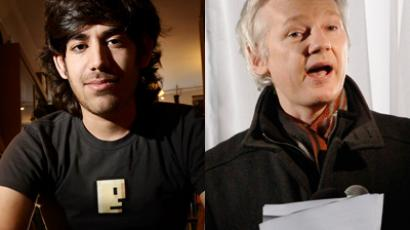 Aaron Swartz (Reuters / Noah Berger) and Julian Assange (Reuters / Luke MacGregor)