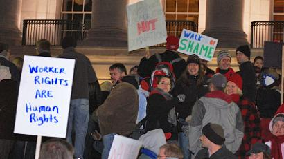 Protests in Wisconsin, February 15, 2011 (Photo by user WxMom from flickr.com)