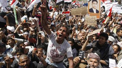 Yemeni anti-government protesters shout slogans during a demonstration demanding the resignation of Yemeni President Ali Abdullah Saleh in Sanaa on April 1, 2011 (AFP Photo / Ahmad Gharabli)