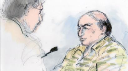 Courtroom drawing shows alleged anti-Islamic filmmaker Nakoula Basseley Nakoula (R) in court on probation violation charges in Los Angeles, California (AFP Photo / Mona Shafer)