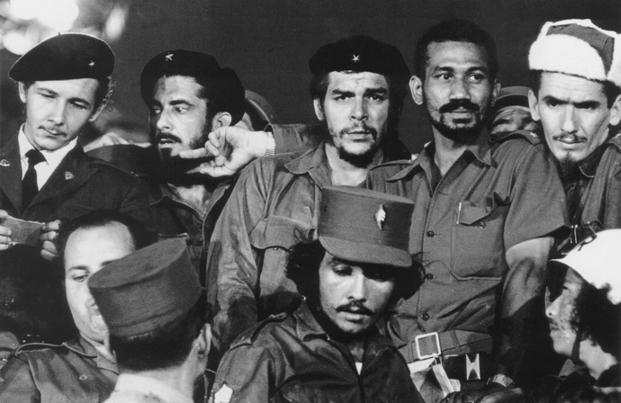 "Commanders (L to R) Raul Castro, Antonio Nunez Jimenez, Ernesto ""Che"" Guevara, Juan Almeida and Ramiro Valdes in Havana during the first year of the Cuban revolution, 1959 (AFP Photo / Archivo Bohemia)"