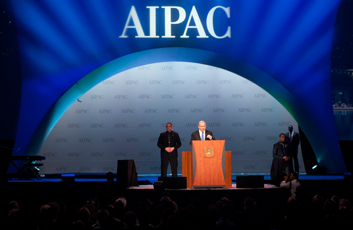 Israeli Prime Minister Benjamin Netanyahu speaks at the American Israel Public Affairs Committee (AIPAC) policy conference in Washington (Reuters / Joshua Roberts)