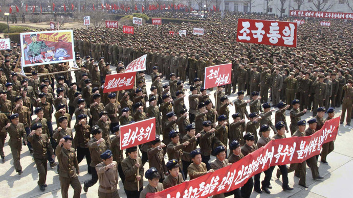 North Koreans attend a rally held to gather their willingness for a victory in a possible war against the United States and South Korea in Nampo, North Korea, April 3, 2013 in this picture released by the North's official KCNA news agency in Pyongyang on Wednesday. (Reuters)