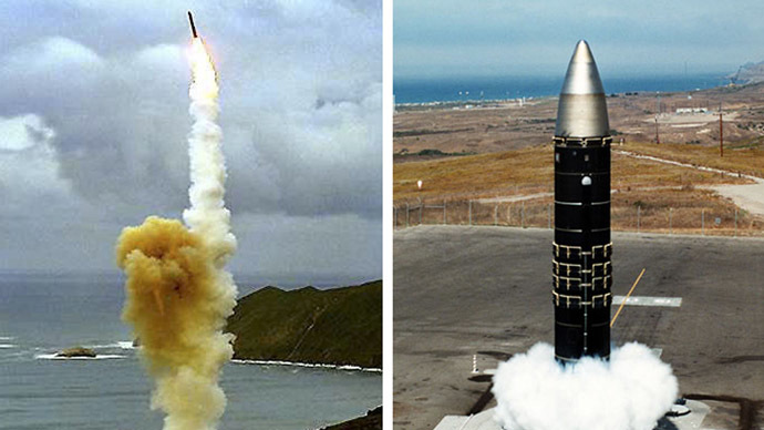 This composite image shows the LGM-30G Minuteman intercontinental ballistic missile (ICBM) (L) and the LG-118A Peacekeeper missile(R). (AFP Photo/US DoD)