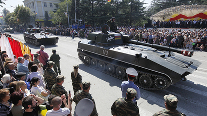 Parade of military vehicles during the celebration of the Independence Day of South Ossetia in Tskhinval, September 20, 2010 (RIA Novosti / Ruslan Vahaev)