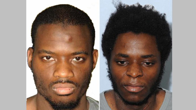 A combination of handout pictures released by the Metropolitan Police Service (MPS) on December 19, 2013 shows the custody photographs taken in London of British men Michael Adebolajo (L) and Michael Adebowale (R) who were found guilty of the murder of British soldier Lee Rigby (AFP/MPS)