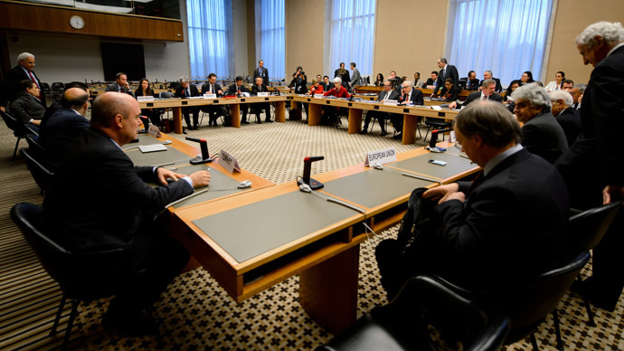 General view prior to a meeting on Syria on December 20, 2013 at the United Nations offices in Geneva. (AFP Photo)