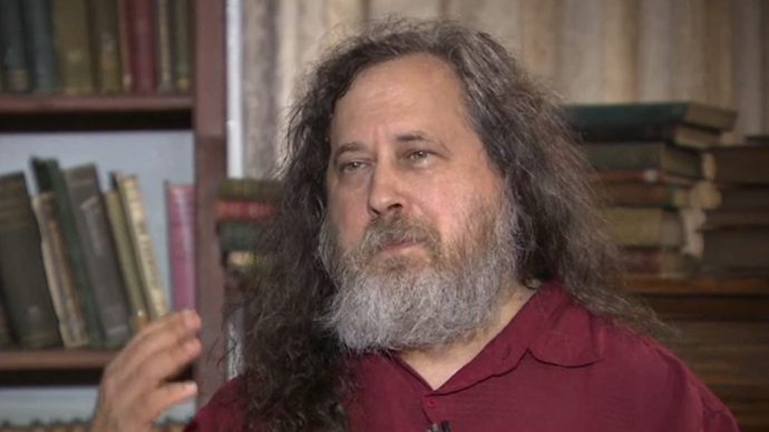 Richard Stallman (screenshot from RT video)