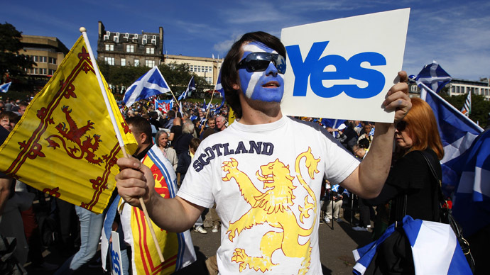 Demonstrators take part in a pro-independence rally in Princes Street gardens in Edinburgh, Scotland (Reuters/David Moir)