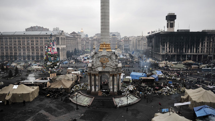 Independence square in central Kiev, February 28, 2014 (AFP Photo)