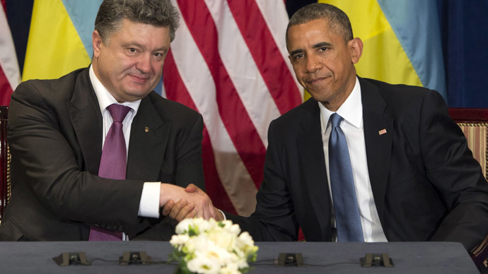 US President Barack Obama and President-elect Petro Poroshenko of Ukraine hold a meeting in Warsaw, Poland, on June 4, 2014. (AFP Photo / Saul Loeb)