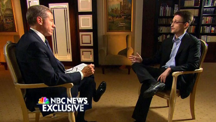 This NBC News handout video frame grab shows an NBC News Exclusive interview with Brian Williams and Edward Snowden, excerpted from the May 28, 2014 TV primetime special. (AFP Photo / NBC News / Handout)