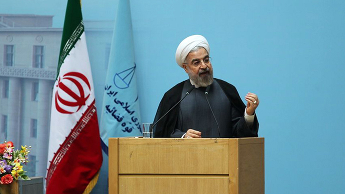 Iranian president Hassan Rouhani   shows him giving a speech during the annual judiciary summit in the capital Tehran on June 21, 2014 (AFP Photo / HO)
