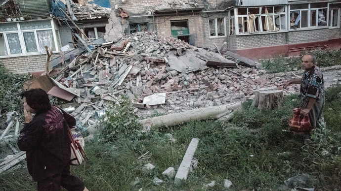 Aftermath of an artillery attack by the Ukrainian army on the Artyom district in Slavyansk. (RIA Novosti/Andrey Stenin)